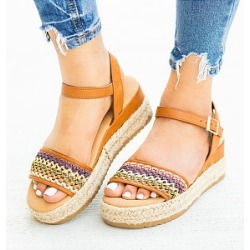 Berrylook Bohemian Peep Toe Casual Date Travel Wedge Sandals clothing stores, clothes shopping near me,