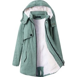 Berrylook Hooded Flap Pocket Plain Fleece Lined Coat online, shoping, white winter coat, parka jacket women found on Bargain Bro India from Berrylook for $38.95