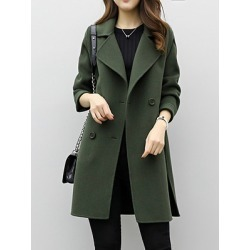 Lapel Double Breasted Plain Coats