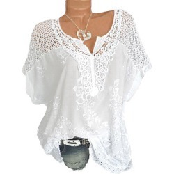 Berrylook V Neck Patchwork Embroidery Blouses sale, online shopping sites, work blouses, summer tops for women found on Bargain Bro India from Berrylook for $20.95