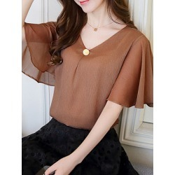 Berrylook V Neck Plain Batwing Sleeve Blouse shop, online sale, Solid Blouses, summer tops for women, lace top