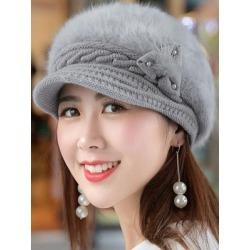 Berrylook Winter Warm Faux Leather Crochet Plain Cotton Thick Hats clothing stores, clothes shopping near me,