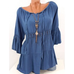 Berrylook V Neck Patchwork Lace Blouse shoppers stop, sale, splice Blouses, button up shirts for women, going out tops