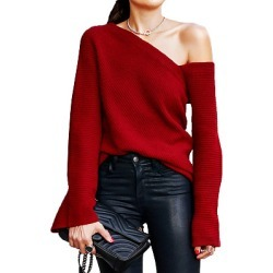 Berrylook Single Shoulder Collar Patchwork Brief Plain Bell Sleeve Long Sleeve Knit Pullover sale, online shop, long cardigan, long cardigans for women