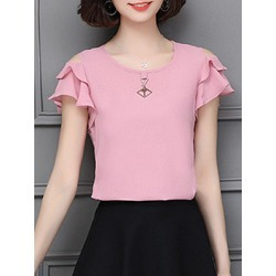 Berrylook Round Neck Elegant Plain Short Sleeve Blouse shoppers stop, shoping, Solid Blouses, summer tops for women, silk blouse