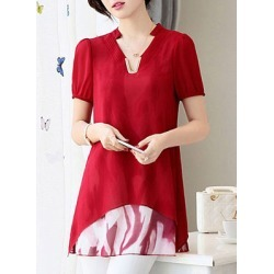 Berrylook V Neck Patchwork Short Sleeve Blouse online sale, sale, splice Blouses, red top, shirts for women