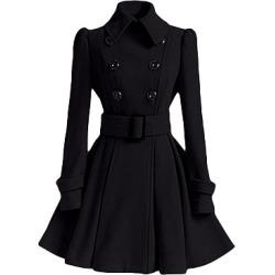 Berrylook Fold Over Collar Ruffled Hem Belt Coat shop, online, cute jackets, black coat womens