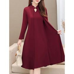 Berrylook Round Neck Shift Dress shoping, online, Solid Shift Dresses, below the knee dresses, sheath dress