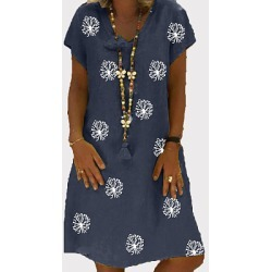 Berrylook V Neck Printed Shift Dress stores and shops, online sale, semi formal dresses, shirt dress found on MODAPINS from Berrylook for USD $24.70
