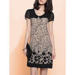 Berrylook Round Neck Printed Shift Dress sale, clothing stores, printing Shift Dresses, below the knee dresses, womens linen dresses