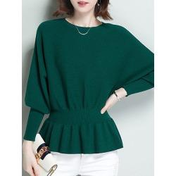 Berrylook Round Neck Patchwork Elegant Plain Batwing Sleeve Long Sleeve Knit Pullover online sale, sale, white cardigan, wool sweater