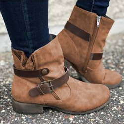 Berrylook European and American flat retro boots stores and shops, online sale, Solid Flat Boots,