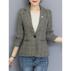 Berrylook Tempered Plaid Collar Blazer cheap online stores, online, Long Blazers, womens suit jacket, linen blazer women