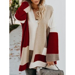 Berrylook Sweater Loose Geometric Color Matching Sweater Cardigan Jacket shoppers stop, shoping, women's spring coats, winter vest womens found on Bargain Bro from Berrylook for USD $24.28