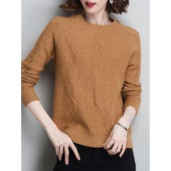 Berrylook Round Neck Patchwork Elegant Long Sleeve Knit Pullover online shop, shop, sweaters, sweaters for women