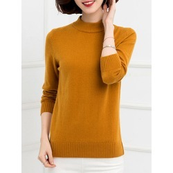 Berrylook Short High Collar Brief Plain Long Sleeve Knit Pullover clothing stores, fashion store, long cardigan, cardigan sweaters for women