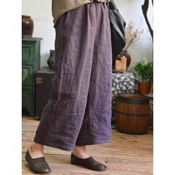Berrylook Casual Cotton And Linen Loose Nine-Point Wide-Leg Pants clothing stores, sale,