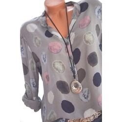 Berrylook Band Collar Loose Fitting Dot Blouses cheap online shopping sites, shoping, white shirt womens, cute tops for women found on Bargain Bro Philippines from Berrylook for $19.95