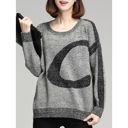 Berrylook Round Neck Patchwork Casual Batwing Sleeve Long Sleeve Knit Pullover clothing stores, cheap online stores, cardigan sweaters for women, knit sweater