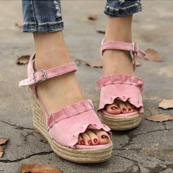 Plain  Velvet  Ankle Strap  Peep Toe  Date Office Wedge Sandals