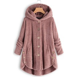 Berrylook Hooded Decorative Buttons Plain Coat shop, stores and shops, leather jacket with fur, winter jacket