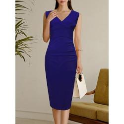Berrylook V Neck Plain Bodycon Dress online sale, sale, floral dresses, cut out dress