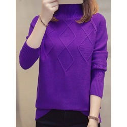 Berrylook Short High Collar Elegant Plain Long Sleeve Knit Pullover online sale, shoppers stop, Solid Pullover, sweater hoodie, cardigan sweaters for women