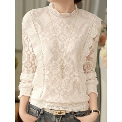 Berrylook Autumn Spring Lace Women High Neck Decorative Lace See-Through Floral Hollow Out Long Sleeve Blouses cheap online stores, online sale, white blouses for women, shirts for women