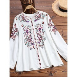 Berrylook V Neck Patchwork Bohemian Printed Long Sleeve Blouse online sale, sale, cute tops for women, shirts & tops