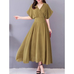 Berrylook V Neck Plain Maxi Dress sale, shoppers stop, Empire Maxi Dresses, long sleeve maxi dress, a line dress found on Bargain Bro Philippines from Berrylook for $26.95