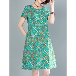 Berrylook Round Neck Printed Shift Dress cheap online stores, shoping, printing Shift Dresses, below the knee dresses, sleeveless shift dress