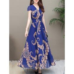 Berrylook V-Neck Printed Maxi Dress cheap online stores, sale, printing Maxi Dresses, halter dress, long white dress