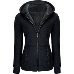 Berrylook Hooded Zips Decorative Button Fleece Lined Coat shoping, clothes shopping near me, womens parka coats, black jacket womens found on Bargain Bro from Berrylook for USD $20.48
