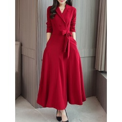 Fold-Over Collar  Double Breasted Patch Pocket  Plain Maxi Dress