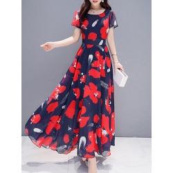 Berrylook Round Neck Printed Maxi Dress online sale, sale, Short Maxi Dresses, graduation dress, sheath dress