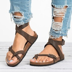 Berrylook Plain Flat Peep Toe Casual Flat Sandals stores and shops, cheap online shopping sites, Plain Flat Sandals, found on Bargain Bro India from Berrylook for $19.95