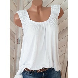 Open Shoulder  Plain Sleeveless T-Shirts
