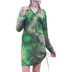 Berrylook Tie-dye Printed V-neck Drawstring Dress online stores, clothes shopping near me, semi formal dresses, shirt dress found on MODAPINS from Berrylook for USD $20.95