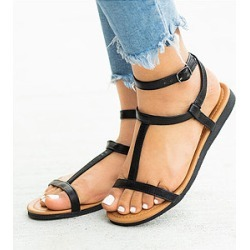 Berrylook Plain Peep Toe Casual Flat Sandals clothing stores, clothes shopping near me, Animal Flat Sandals,