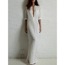 V Neck  Single Breasted  Plain Maxi Dress