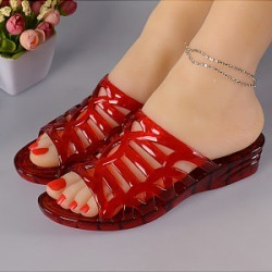 Berrylook Women Casual Crystal Wedge Jelly Sandals clothing stores, sale, Solid Sandals,