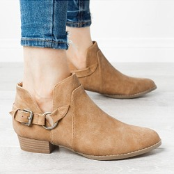 Berrylook Plain Point Toe Outdoor Ankle Boots clothing stores, clothes shopping near me,