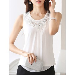 Berrylook V Neck Patchwork Sleeveless Blouse clothing stores, sale, splice Blouses, work blouses, red blouse
