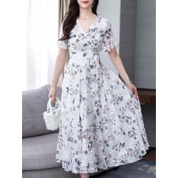 Berrylook V-Neck Printed Maxi Dress shop, online sale, printing Maxi Dresses, shirt dress, semi formal dresses found on MODAPINS from Berrylook for USD $16.61