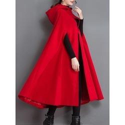 Berrylook Longline Hooded Plain Woolen Cape Sleeve Coat online sale, stores and shops, jackets for women, black leather jacket women