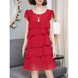 Berrylook Round Neck Plain Shift Dress online sale, shoping, Solid Shift Dresses, petite dresses, below the knee dresses
