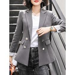 Berrylook Stylish Fold-Neck Long Sleeve cheap online stores, online, Long Blazers, navy blue blazer women, red blazer