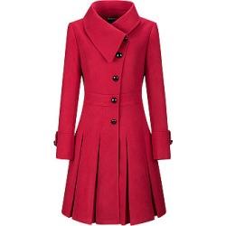 Berrylook Fold-Over Collar Single Breasted Plain Swing Woolen Coats online sale, sale, warm coats for women, long jackets for women