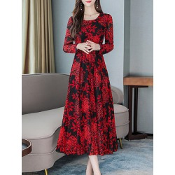 Berrylook Fashion Floral Printed Long Sleeve Round Neck Maxi Dress clothing stores, shoppers stop, printing Maxi Dresses, black long sleeve dress, floral maxi dress