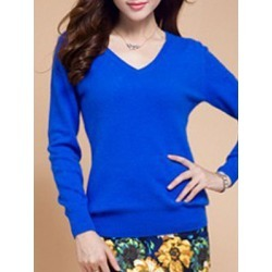 Berrylook V Neck Plain Knit Pullover clothing stores, cheap online stores, cardigan sweaters for women, red cardigan